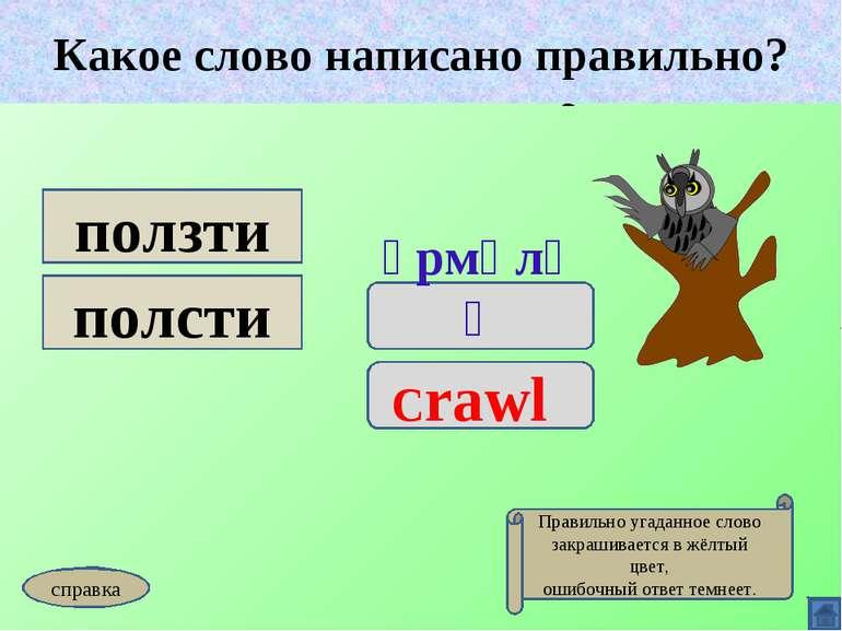 Какое слово написано правильно? үрмәләү Crawl ползти полсти Какое слово напис...