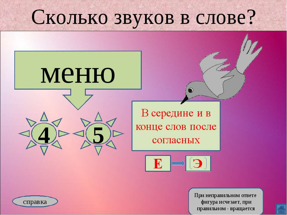Сколько звуков в слове? меню 4 5 справка При неправильном ответе фигура исчез...