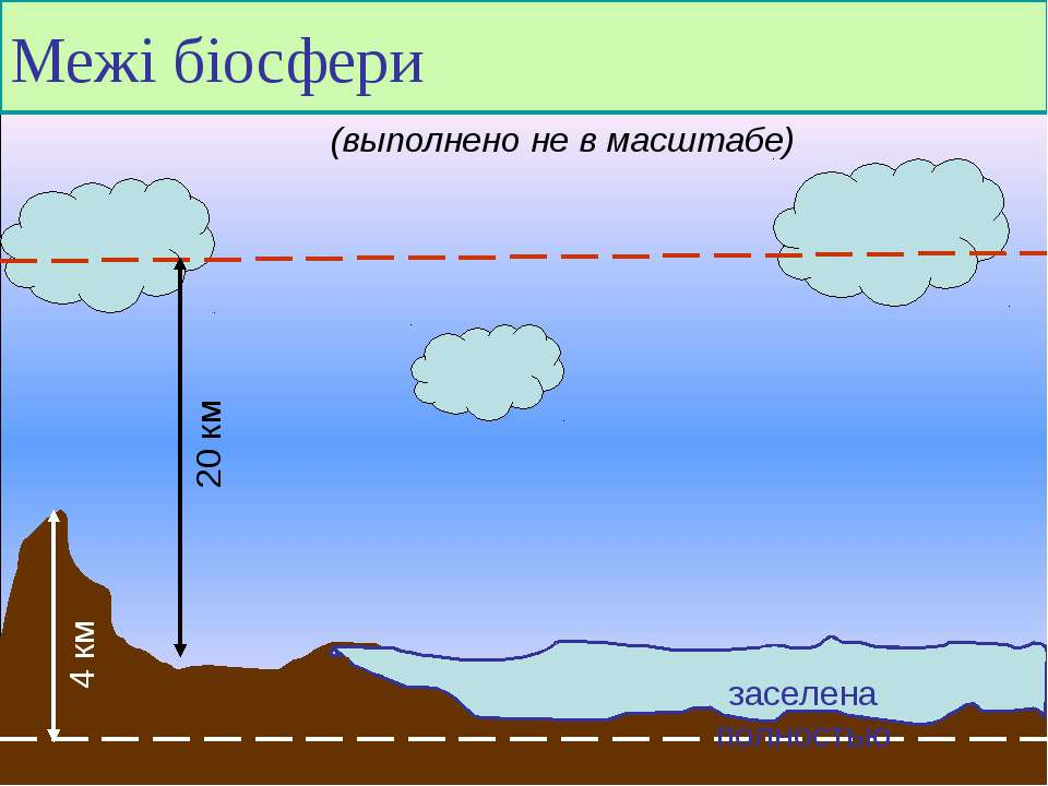 Межі біосфери заселена полностью (выполнено не в масштабе) 20 км 4 км