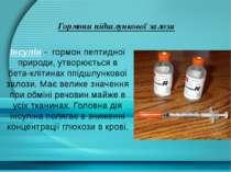 Гормони підшлункової залози ІнсулІн - гормон пептидної природи, утворюється в...