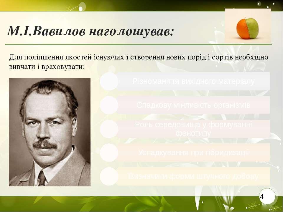 М.І.Вавилов наголошував: Для поліпшення якостей існуючих і створення нових по...