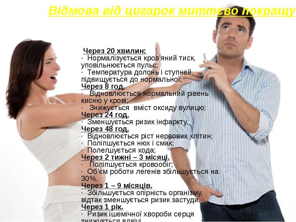 Відмова від цигарок миттєво покращує здоров'я Через 20 хвилин: · Нормалізуєть...
