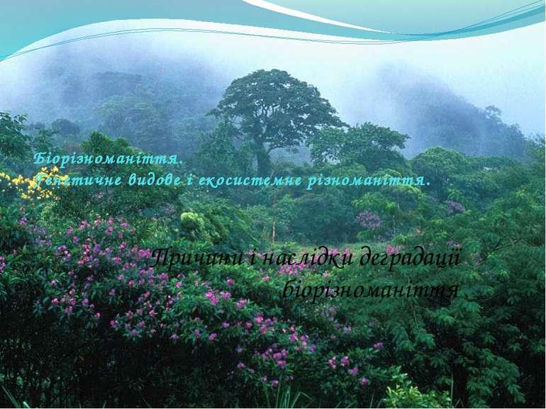 Біорізноманіття. Генетичне видове і екосистемне різноманіття. Причини і наслі...