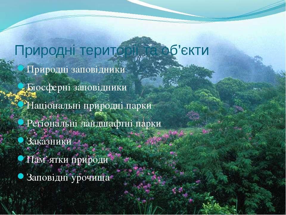 Природні території та об'єкти Природні заповідники Біосферні заповідники Наці...