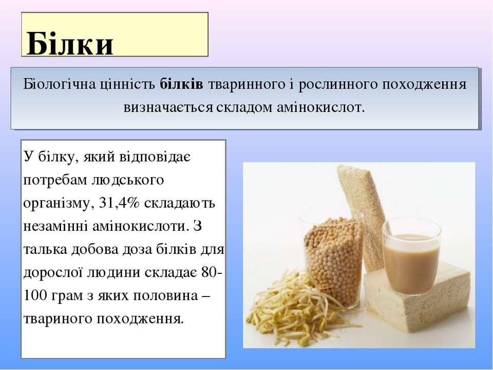 Біологічна цінність білків тваринного і рослинного походження визначається ск...
