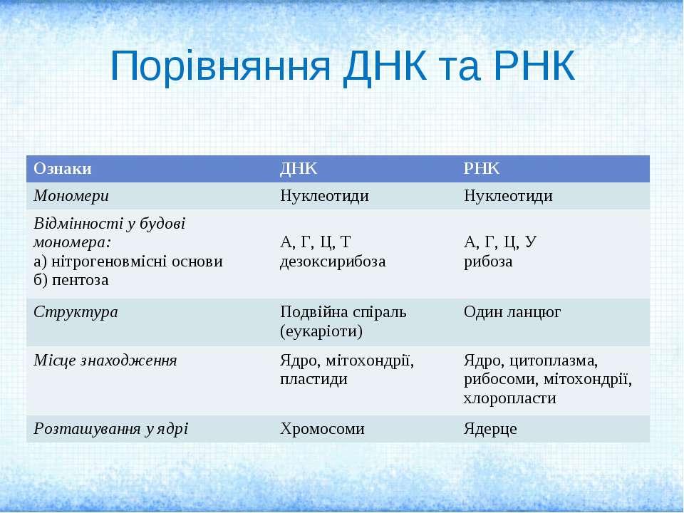 Порівняння ДНК та РНК Ознаки ДНК РНК Мономери Нуклеотиди Нуклеотиди Відміннос...