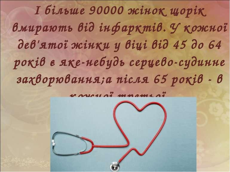 І більше 90000 жінок щорік вмирають від інфарктів. У кожної дев'ятої жінки у ...