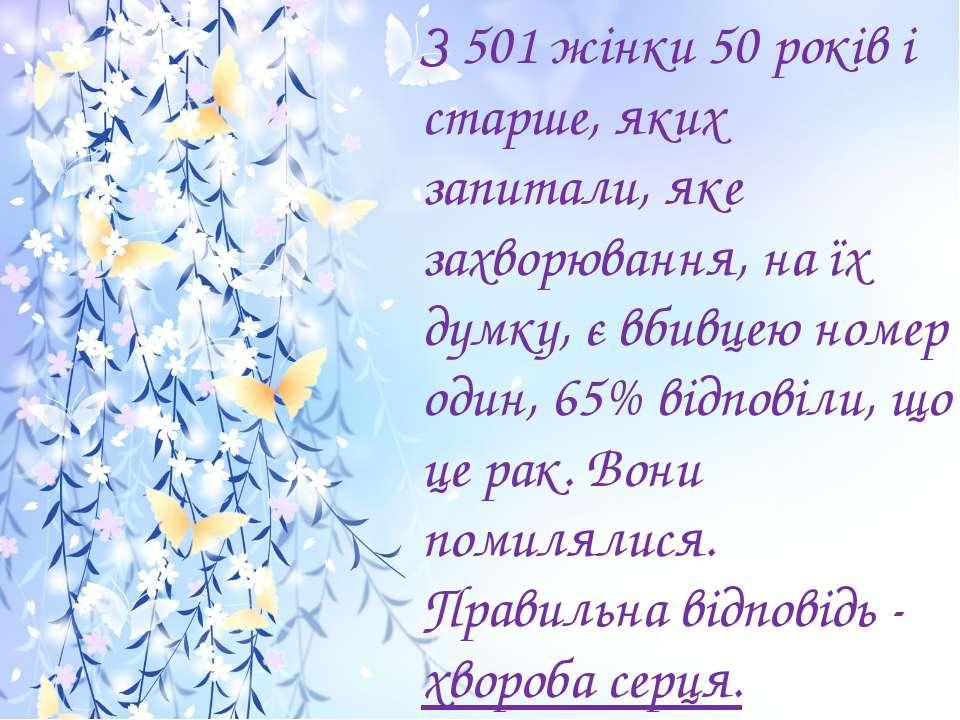 З 501 жінки 50 років і старше, яких запитали, яке захворювання, на їх думку, ...
