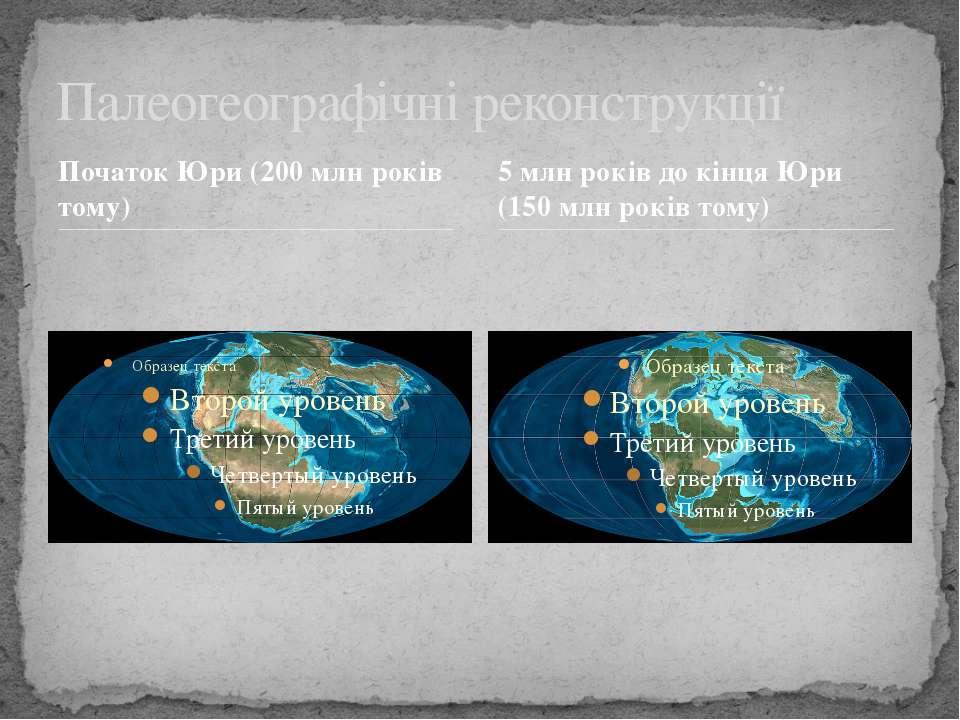 Початок Юри (200 млн років тому) Палеогеографічні реконструкції 5 млн років д...