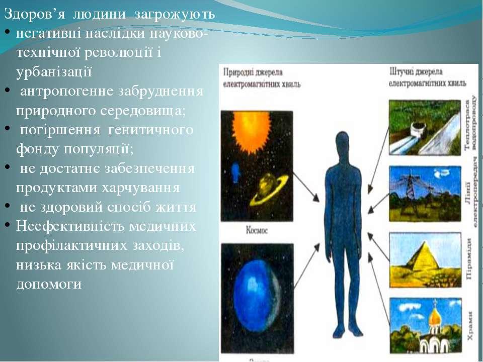 Здоров'я людини загрожують негативні наслідки науково-технічної революції і у...
