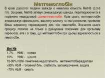 Met Hb 1.7% HbM - норма 10% HbM - ціаноз 15-30% HbM- генетична недостатність ...