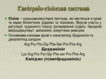 Калікреїн-кінінова система Кініни – низькомолекулярні пептиди, які містяться ...