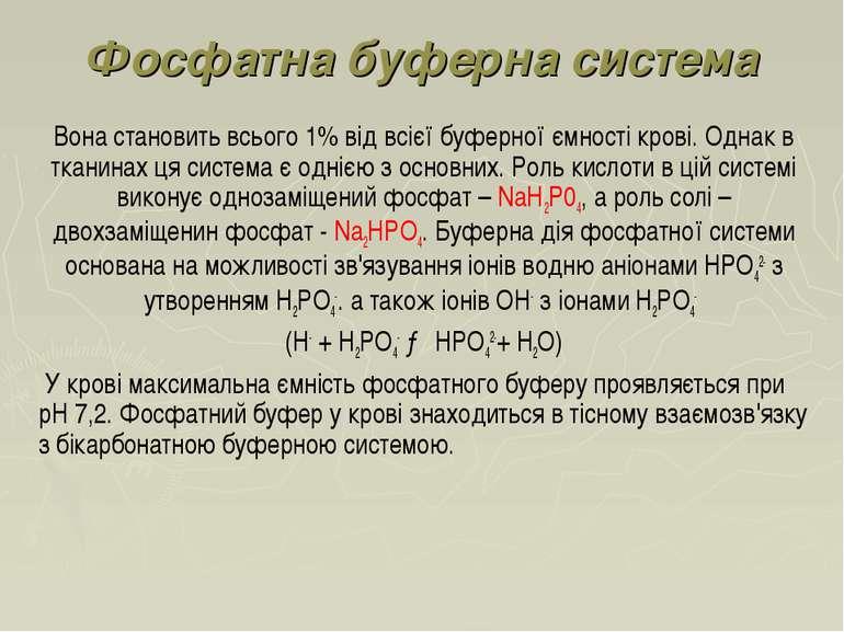 Фосфатна буферна система Вона становить всього 1% від всієї буферної ємності ...