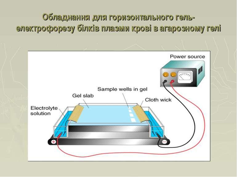 Обладнання для горизонтального гель-електрофорезу білків плазми крові в агаро...