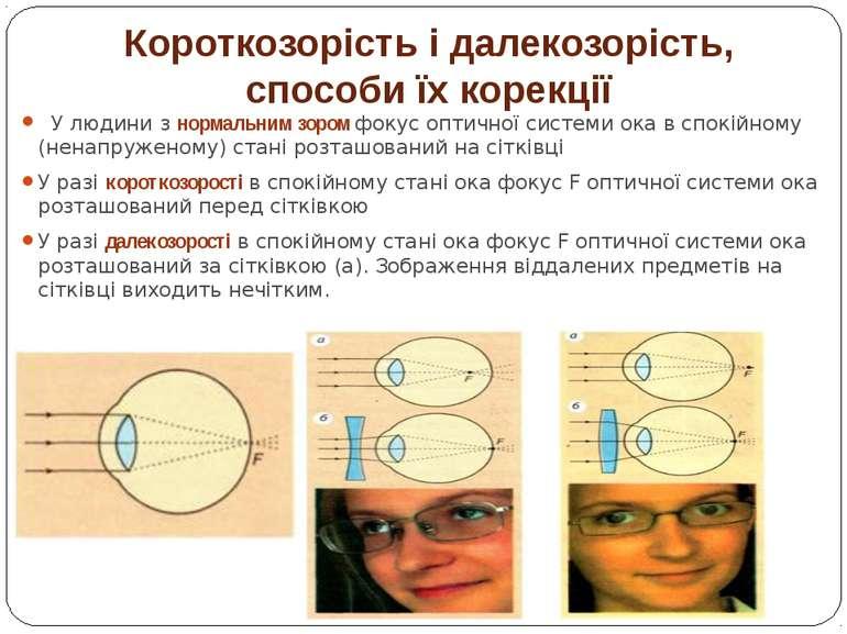 Короткозорість і далекозорість, способи їх корекції  У людини з нормальним з...