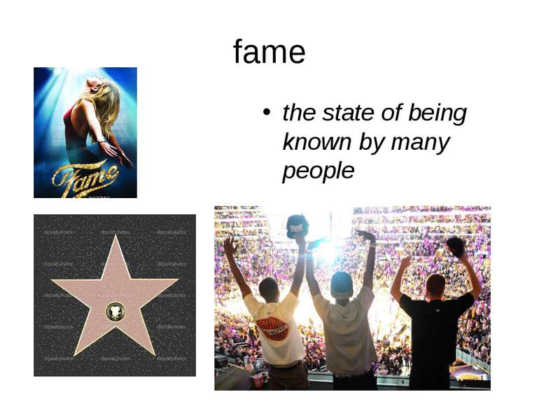 fame the state of being known by many people