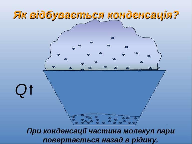 Як відбувається конденсація? При конденсації частина молекул пари повертаєтьс...