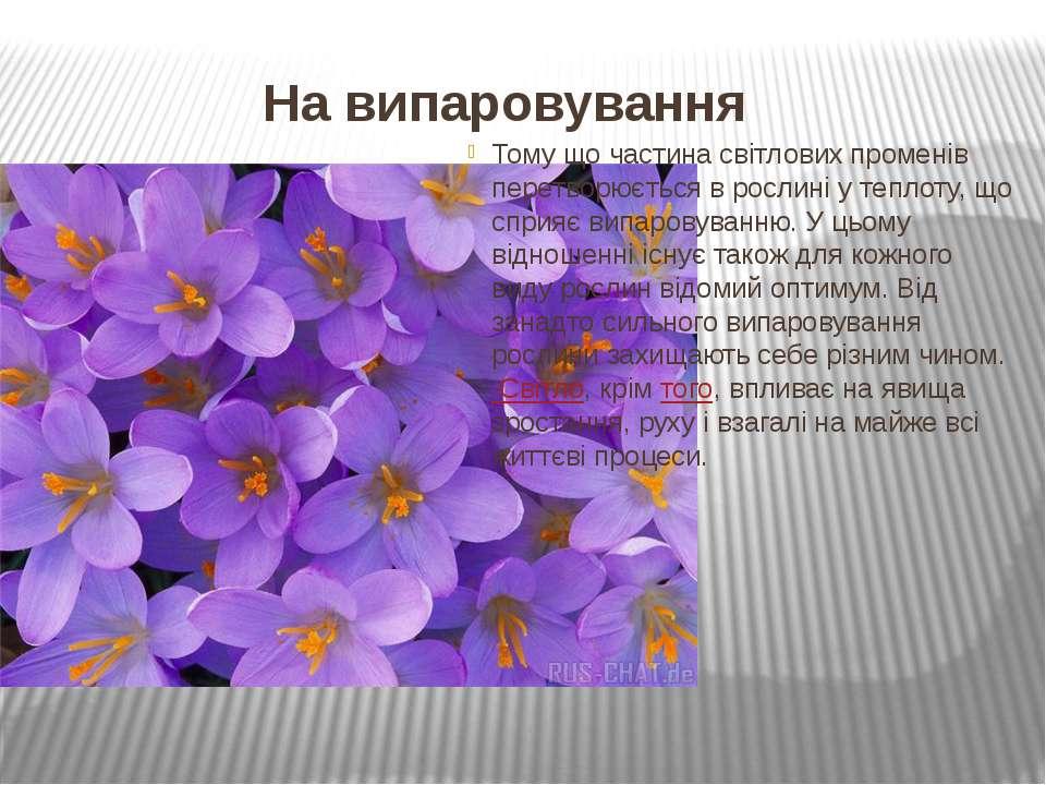 На випаровування Тому що частина світлових променів перетворюється в рослині ...