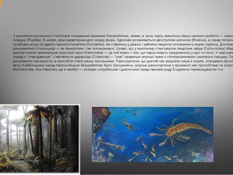 З розвитком рослинності пов'язане поширення наземних безхребетних, якими, в с...