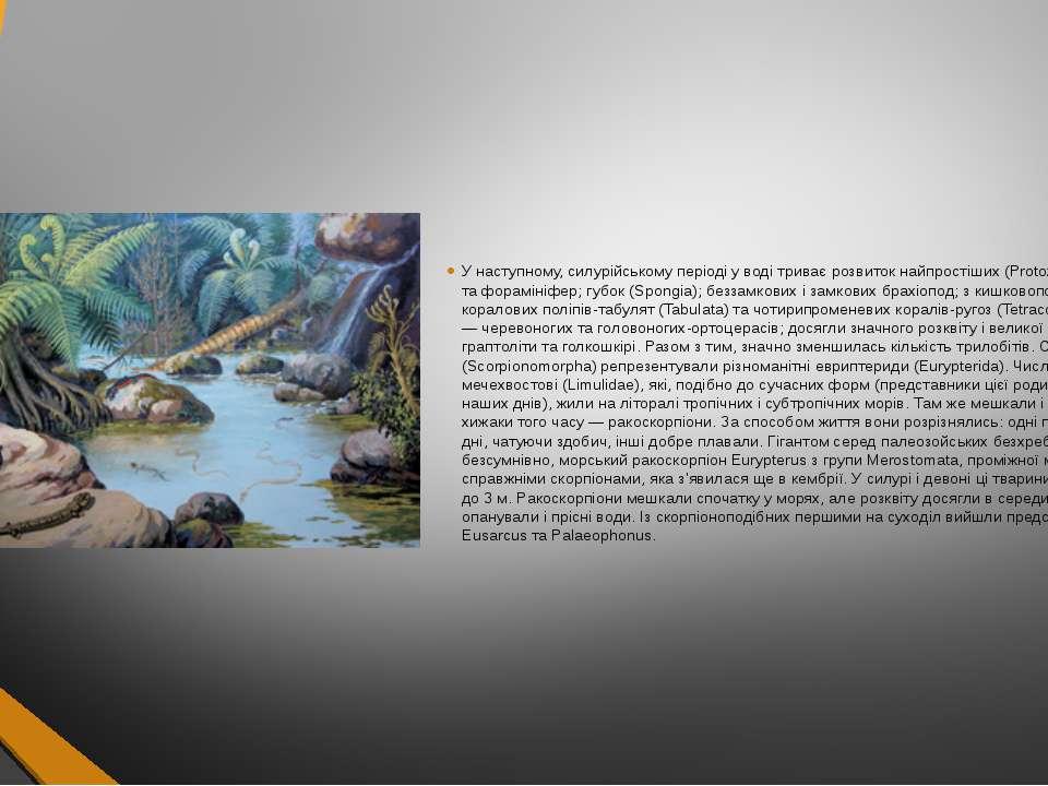 У наступному, силурійському періоді у воді триває розвиток найпростіших (Prot...