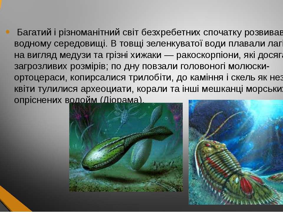 Багатий і різноманітний світ безхребетних спочатку розвивався у водному серед...