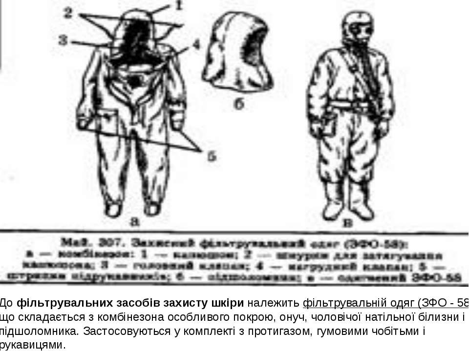 До фільтрувальних засобів захисту шкіри належить фільтрувальній одяг (ЗФО - 5...