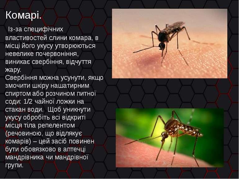 Комарі. Із-за специфічних властивостей слини комара, в місці його укусу утвор...