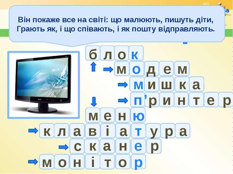 Комп'ютер с р е н ю н е д о м л б а м и м ш к и р п н т е а м е к о т к а і а...