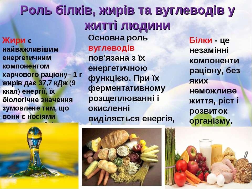 Роль білків, жирів та вуглеводів у житті людини Жири є найважливішим енергети...