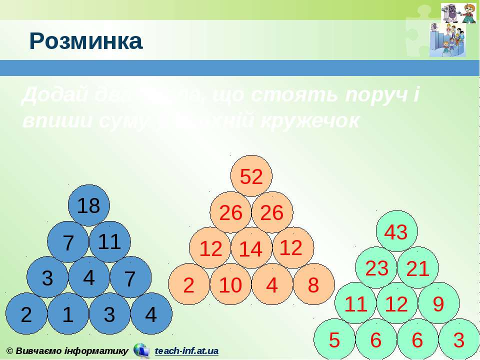 Додай два числа, що стоять поруч і впиши суму у верхній кружечок Розминка 4 7...