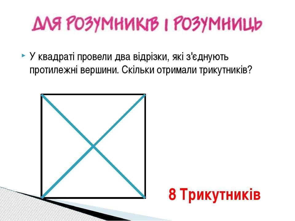 У квадраті провели два відрізки, які з'єднують протилежні вершини. Скільки от...