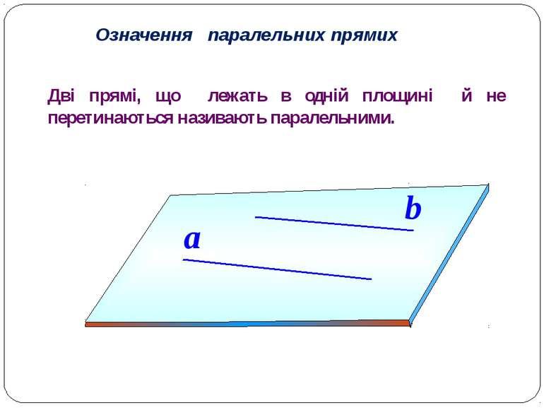 Означення паралельних прямих a b Дві прямі, що лежать в одній площині й не пе...