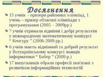 Досягнення 15 учнів - призери районних олімпіад, 1 учень – призер обласної ол...