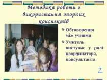 Методика роботи з використання опорних конспектів Обговорення між учнями Учит...