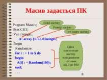 Масив задається ПК Program Massiv; Uses CRT; Var і:integer; A: array [1..5] o...