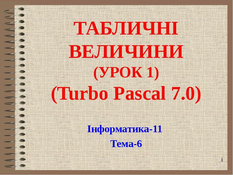 ТАБЛИЧНІ ВЕЛИЧИНИ (УРОК 1) (Turbo Pascal 7.0) Інформатика-11 Тема-6