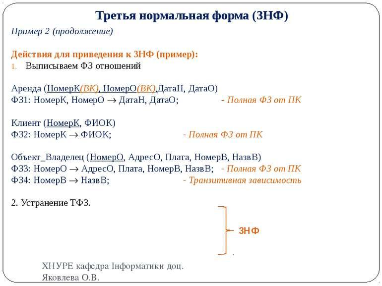 Третья нормальная форма (3НФ) Пример 2 (продолжение) Действия для приведения ...