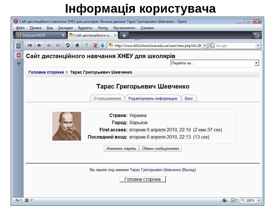 Інформація користувача
