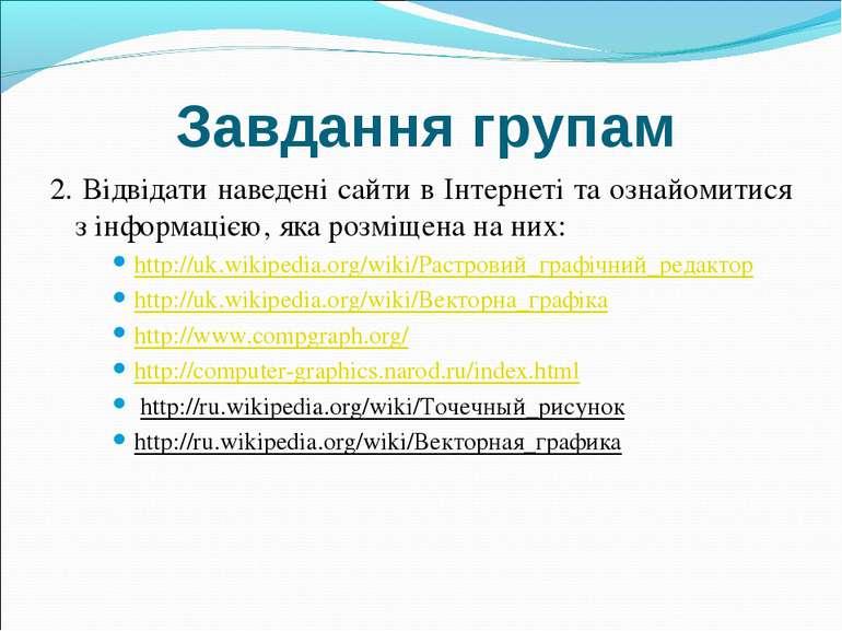 Завдання групам 2. Відвідати наведені сайти в Інтернеті та ознайомитися з інф...
