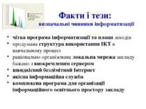 Факти і тези: визначальні чинники інформатизації чітка програма інформатизаці...