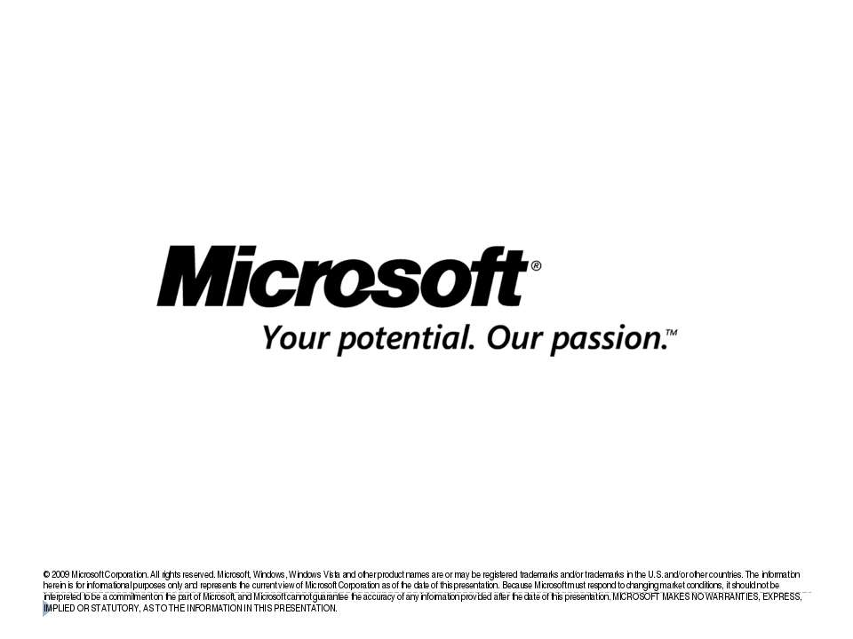 © 2009 Microsoft Corporation. All rights reserved. Microsoft, Windows, Window...