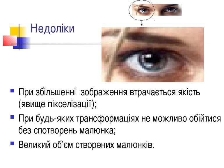 Недоліки При збільшенні зображення втрачається якість (явище пікселізації); П...