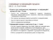 «Інформація та інформаційні процеси» (16 г) – 2, 3 та 4 класи Поняття про пов...