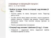 «Інформація та інформаційні процеси» (16 г) – 2, 3 та 4 класи Файли та папки....