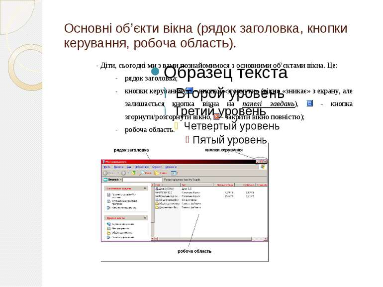 Основні об'єкти вікна (рядок заголовка, кнопки керування, робоча область).