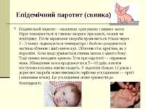 Епідемічний паротит (свинка) Епідемічний паротит—запалення привушних слинних...