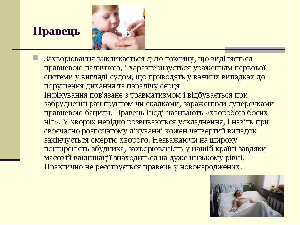 Правець Захворювання викликається дією токсину, що виділяється правцевою пал...