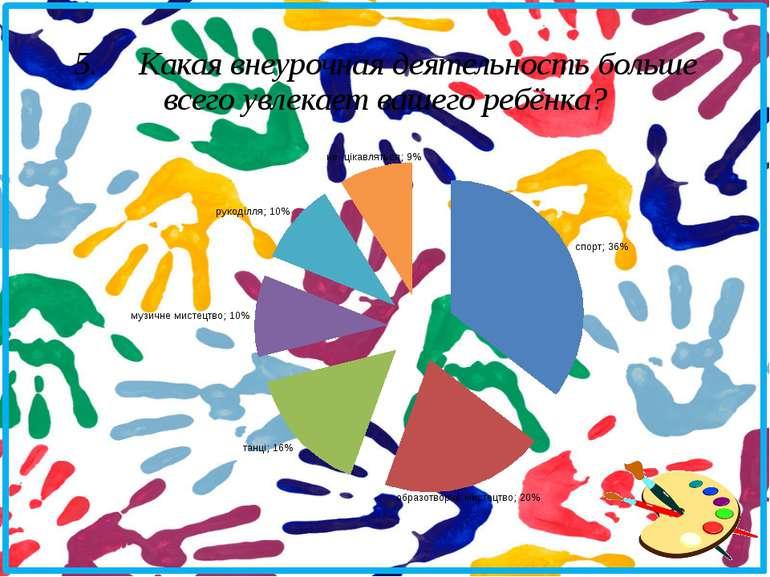 5. Какая внеурочная деятельность больше всего увлекает вашего ребёнка?