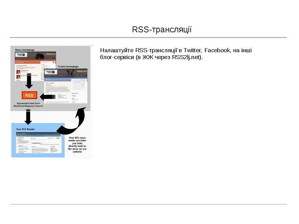 RSS-трансляції Налаштуйте RSS-трансляції в Twitter, Facebook, на інші блог-се...