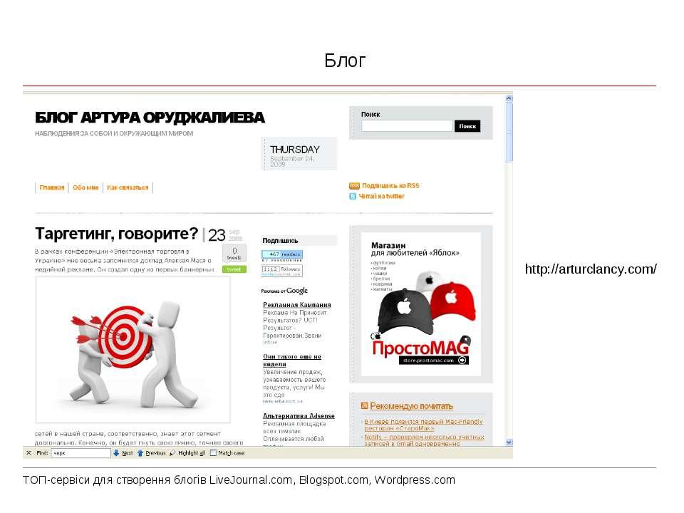 Блог http://arturclancy.com/ ТОП-сервіси для створення блогів LiveJournal.com...